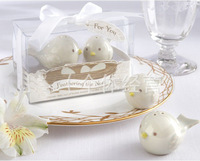 Free Shipping By EMS ,100Pcs/lot=50Sets, 2012 Feathering The Nest Ceramic Birds Salt & Pepper Shakers Baby Favors
