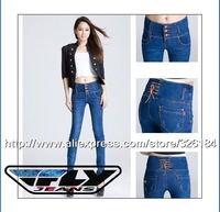 FREE SHIPPING FACTORY SELL IFLY 2015 F018F Girls womens High Waist Skinny Jeans for women sexy lady Blue long pants