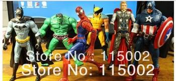DHL Free shipping 6'' The Avengers heros Hulk Captain Americn Batman Thor Spiderman Action Figure Toys Set of 6