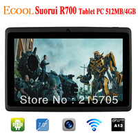 "Freeshipping Android 4.0 Suorui R700 512MB/4GB 7"" Allwinner A13 Multi-Language 5-Point Capacitive Touch Screen 800*480 Tablet PC"