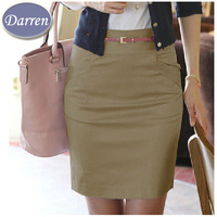Spring Summer Fashion Women's Solid Above Knee Short Skirt Medium Waist  Cotton Pencil skirts Saia Femininas 2014