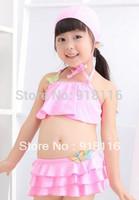 3 PCS Pink Color Children's Cute Bikini Lovely Kid's Mini-Bikini Suitable for 3-6 years old Girls (2904)