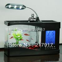 FREE SHIPPING Mini USB LCD Desktop Lamp Light Fish Tank Aquarium With Clock/Calendar 2 Colors 11-25