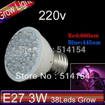 5pcs E27 3W led plant light 38leds E27 Hydroponics Flowering LED Plant Grow Lamp