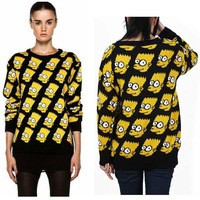 2013 cartoon simpsons loose fleece bf medium-long sweatshirt female/DZ191
