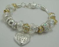 PB18   Free shipping,925 Silver White Glass Beads Charm Bracelet, silver Heart Bracelet Wholesale Jewelry for women