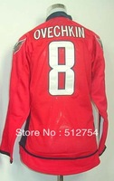 Free Shipping, #8 Alexander Ovechkin Kids/Youth Hockey Jersey,Ice Hockey jersey,Embroidery logos,size S--XL,Accept Mix Order