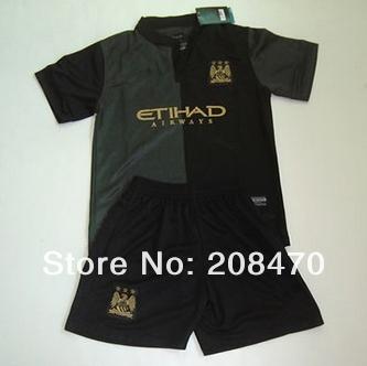 13 14 Manchester City away black kids soccer uniforms Brand children football kits thailand quality boy sportswear Free Shipping