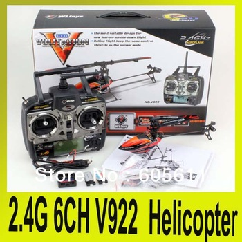 2.4G 6CH V922 WL Toy Single Blade Gyro RC Helicopter With LCD 2 Batteries Outdoor Free Shipping