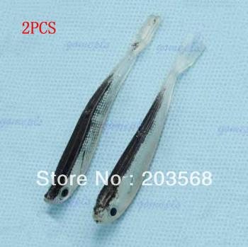 D19+Free Shipping 3pair/lot  75mm 2.2g Soft Tiddler Bait Fluke Fishing Saltwater Lure Tackle