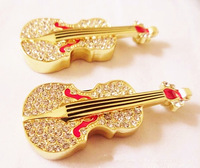 HOT Diamond Violin Usb Flash Drive 1/2/4/8/16/32gb usb 2.0 memory stick USB Drive Gift