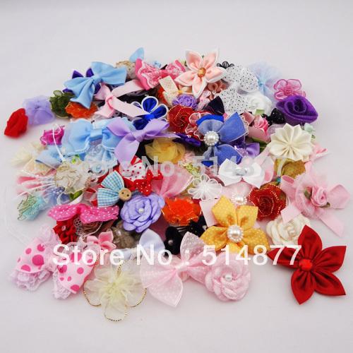 50pcs Ribbon bow flowers appliquest craft lots mix AM3(China (Mainland))