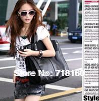 2014 fashion Korean style PU leather+canvas designer women handbags totes black ladies shoulder bag messenger bags free shipping