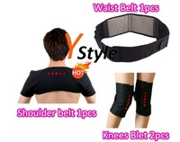 Tourmaline Self-heating Massage Belts 3-IN-1 Set for Alla: Shoulder 1PCS Waist 1PCS Knees 2PCS Free Fedex Shipping