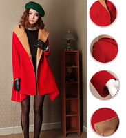 Fashion color block turn-down collar with a hood irregular sweep long thin paragraph wool coat woolen thick outerwear femaleA114
