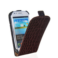Free shipping high quality crocodile grain flip hard back leather case cover for Samsung Galaxy S3 Slll Mini I8190 with 9 design