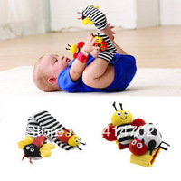 Bees wristband  baby wristband length bell watch band socks rattles baby toy 4pcs/set