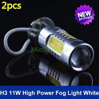 New Arrival H3 High Power 11W Lens LED DC 10-24v CREE Xenon White HeadLight LED Bulb Fog Lamp Free Shipping 2pcs/lot
