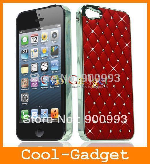 Rhinestone Diamond Bling Shining Stars Chrome Case Cover Skin for iPhone 4 4G 5 5G 5S 5C 100pcs/lot IP5C100(China (Mainland))