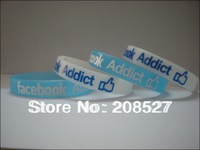 Facebook addict wristband, Silicon bracelet, glow in the dark colour, promotion gift, printed logo,100pcs/lot, free shipping