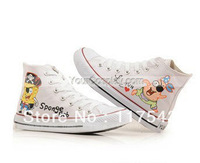 Canvas Shoes High Top SpongeBob SquarePants White Hand Painted Canvas Shoes