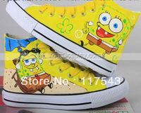 SpongeBob Canvas Shoes High Top SpongeBob SquarePants Yellow Hand Painted Canvas Shoes
