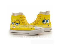 Canvas Shoes High Top SpongeBob SquarePants Yellow Hand Painted Women Shoes