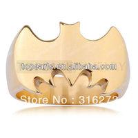 Topearl Jewelry 3pcs Biker Ring Batman Golden Stainless Steel Ring MER231