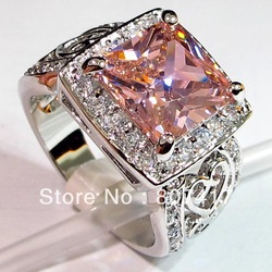 Trendy Pink Kunzite 925 Sterling fashion Silver crystal ring R371 sz#6 7 8 9(China (Mainland))