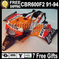 D643 7gifts+ tank for CBR600F2 91-94 CBR600 F2 CBR 600 RR 600F2 F2 91 92 93 94 1991 1992 1993 1994 Custom Repsol Orange fairing