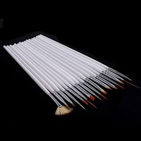 [AE647]16pcs Nail Art Design Brushes Gel Set Painting Draw Pen Polish white Handle Dropshippin