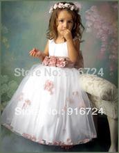 trasporto libero caldo di a-line flower girl dress \ baby girl party dress con fiori sash custom made(China (Mainland))