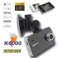 "FreeShipping H.264 Full HD 1080P Vehicle DVR Car Video Camera Recorder 2.7""Screen G-sensor HDMI Output  K6000"