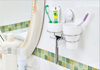 Bathroom wall Suction cup toothbrush cup holder ,double brushing Cup holder  with double brushing Cup ----FREE SHIPPING