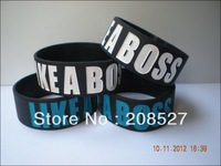 "Like a boss wristband, silicon bracelet,silicon wristband,promotion gift, 1"" wide band, 2colours, 50pcs/lot, free shipping"