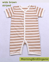 Free shipping (3 pieces/lot)Naturally colored cotton short sleeves baby romper