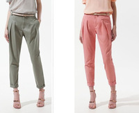 Free shipping 2013 new design women fashion summer and autumn Casual harem pants twiner belt candy color p906