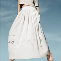 New arrival 2014 hollow out skirt women's fashion summer casual long skirt white color cotton skirt P035