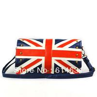 Ladies Union Jack Round Rivet Studded Flap Mini Shoulder Bag Blue fashion cool new arrival bag free shipping