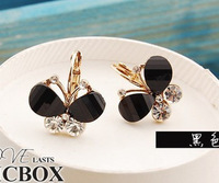 Free shipping Alloy crystal Butterfly earrings / 6 colors green/blue/black stud earrings low price $0.47/pc wholesale 30pcs/lot