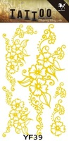 Best selling!! Fashion Various Models Gold Stamp Temporary Waterproof  Body Tattoo Stickers Sex Products 10Pcs/Lot Free shipping