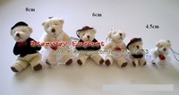 400pcs 8cm Mini Marriage Joint  Teddy Bear Lovers Wedding Couple Joint Plush Bear For Valentine's Day