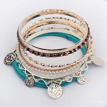2015 New Fashion Multilayer CZ Diamond Simulated Pearl Bracelets Bangles for Women Ladies Bohemia Style Women Bangle Pulseira