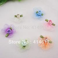40pcs Organza Ribbon Flower W/Rose Appliques Craft Wedding A644M U pick