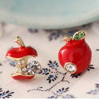 Free shipping Fashion jewelery Unsymmetric ear stud White crystal red-apple green leaf earrings ER35