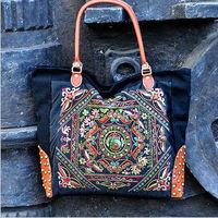 National trend handmade beading handbag bag female personality fashion one shoulder canvas embroidery bags