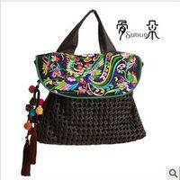 National trend embroidered bag female bags handmade floccular large shoulder bag fashion leather bag violin 5000w