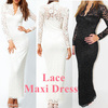 Fashion Ladies&#39; Sexy V-Neck Slim Scallop Neck Lace Women Maxi Dress Long Sleeve Wedding Evening White Black Blue , Free Shipping