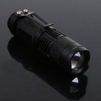 Mini LED flashlight Torch 7W 300LM CREE Q5 LED Flashlight Adjustable Focus Zoom Light Lamp 50pcs/lot