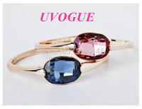 Free shipping 2014 new style18k gold plated Austria SWA Oval blue/purple crystal fashion vintage bracelet&bangle(UVOGUE UB0139)